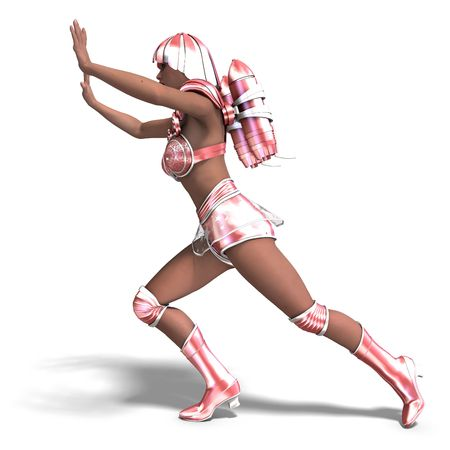 vigorousness: 3D rendering of a super heroine with pink retro outfit with clipping path and shadow over white