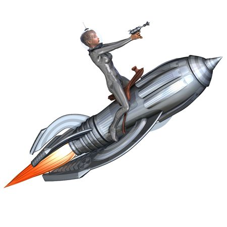 3D rendering of a silver pin-up girl riding on a retro rocket with clipping path and shadow over white Stock Photo - 5666028