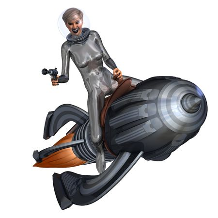 3D rendering of a silver pin-up girl riding on a retro rocket with clipping path and shadow over white photo