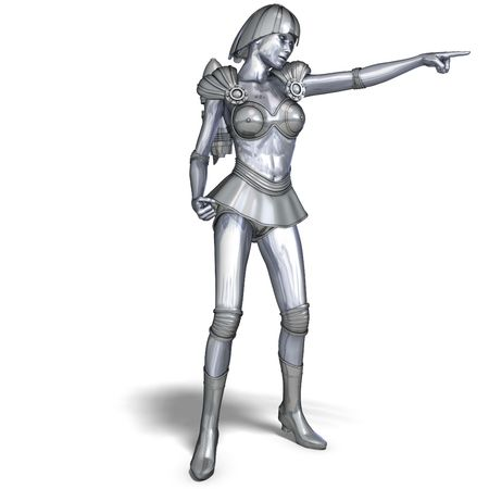 roboter: 3D rendering of a powerful silver heroine rescues the world with clipping path and shadow over white