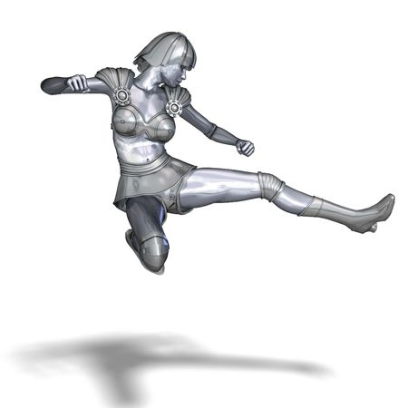 saltation: 3D rendering of a powerful silver heroine rescues the world with clipping path and shadow over white