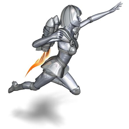 braver: 3D rendering of a powerful silver heroine rescues the world with clipping path and shadow over white