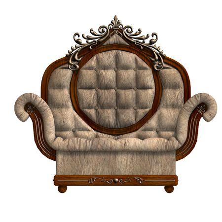 padded stool: 3D rendering of the armchair of louis xv. with clipping path and shadow over white Stock Photo
