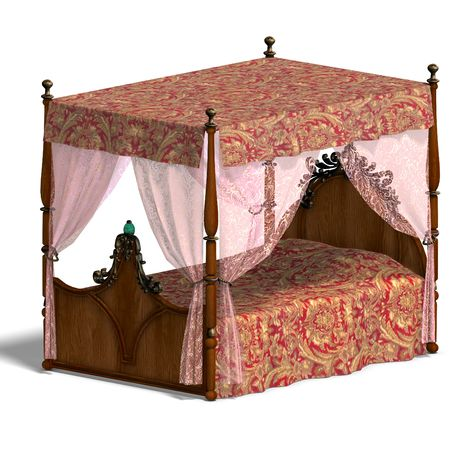 obtaining: 3D rendering of the canopy bed of louis XV. with clipping path and shadow over white