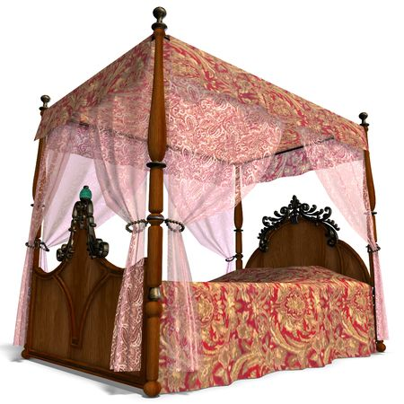 unwind: 3D rendering of the canopy bed of louis XV. with clipping path and shadow over white