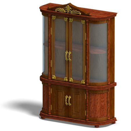 3D rendering of a wooden cabinet with glass of Louis XV. with clipping path and shadow over white photo