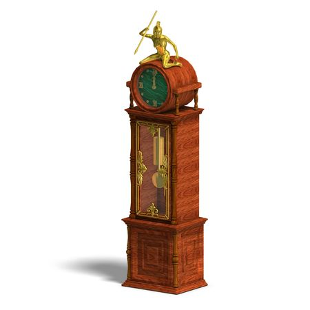 pendular: 3D rendering of a historic clock of louis xv. with clipping path and shadow over white