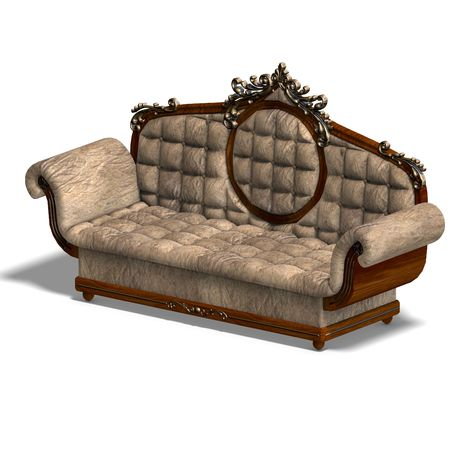 cushy: 3D rendering of a cushy sofa of louis XV. with clipping path and shadow over white