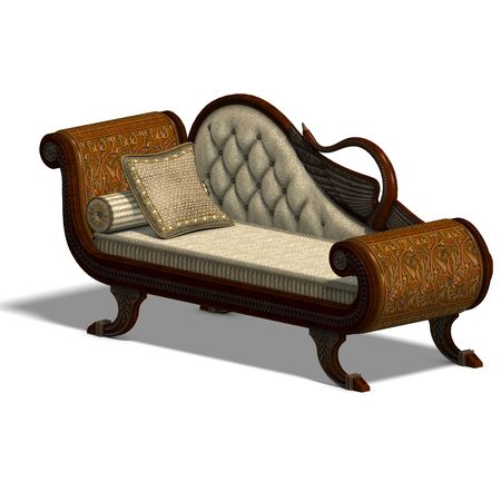 divan: 3D rendering of a very comfortable sofa from biedermeier time with clipping path and shadow over white