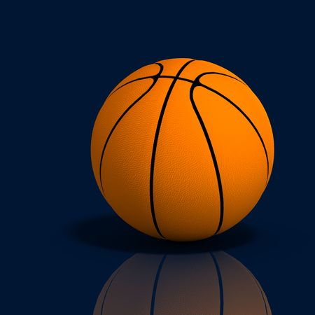 soundness: 3D rendering of a basketball on the reflective blue floor with clipping path and shadow over white Stock Photo
