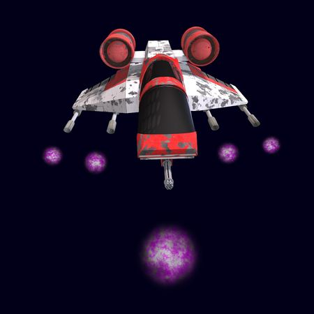 turboprop: 3D rendering of a sci fi spaceship in universe with clipping path and shadow over white