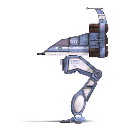 automat: 3D rendering of a futuristic transforming scifi robot and spaceship with clipping path and shadow over white