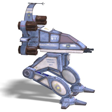 3D rendering of a futuristic transforming scifi robot and spaceship with clipping path and shadow over white