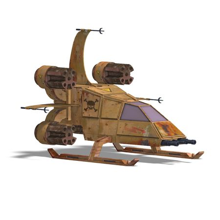 substitute: 3D rendering of a futuristic transforming scifi robot and spaceship with clipping path and shadow over white
