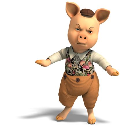 3D rendering of a cute cartoon pig with clipping path and shadow over white photo