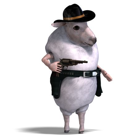 braver: 3D rendering of a sheep of the wild west with clipping path and shadow over white