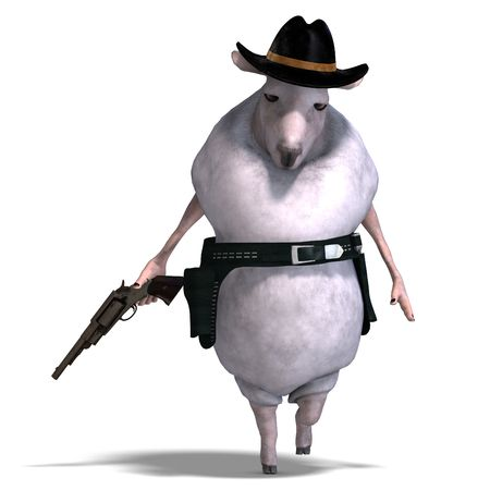 herdsman: 3D rendering of a sheep of the wild west with clipping path and shadow over white