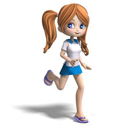 클리핑 경로와 그림자 위에 흰색 귀여운 만화 학교 소녀의 3D 렌더링 스톡 콘텐츠