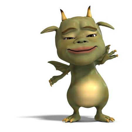 upright: 3D rendering of a little green cute toon dragon devil with clipping path and shadow over white