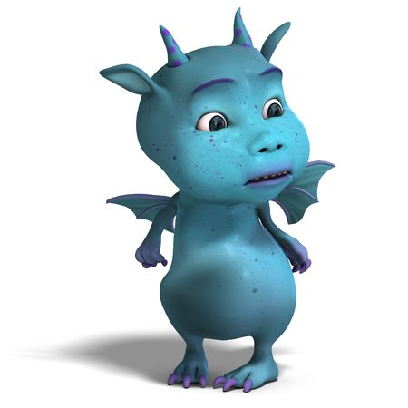 3D rendering of a little blue cute toon dragon devil with clipping path and shadow over white photo