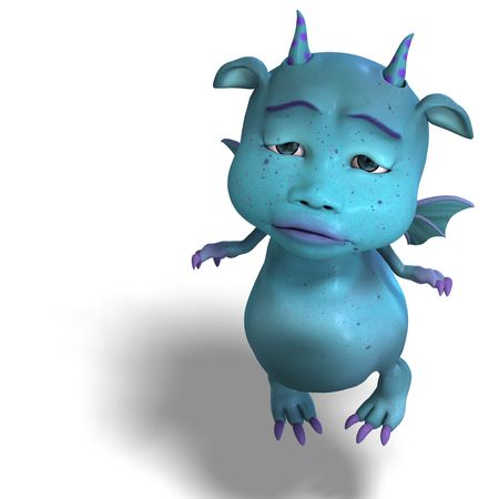 3D rendering of a little blue cute toon dragon devil with clipping path and shadow over white Stock Photo