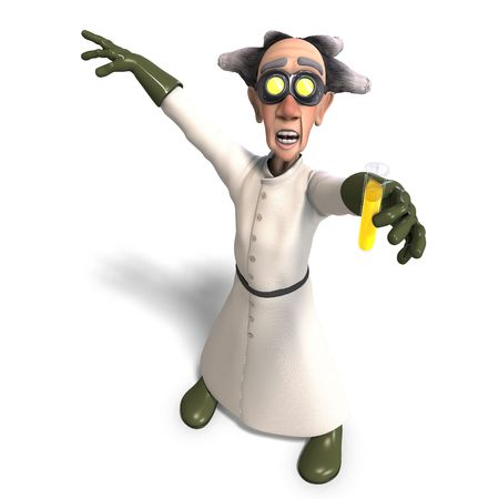 maniac: 3D rendering of a mad scientist with dangerous fluid with clipping path and shadow over white