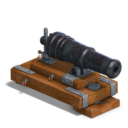 fortress cannon. 3D render with clipping path and shadow over white photo