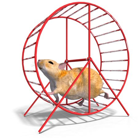 nip: 3D rendering of a sweet hamster with clipping path and shadow over white