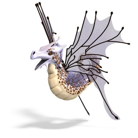 3D rendering of a Faerie Fantasy Dragon with clipping path and shadow over white photo