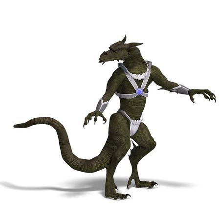 treasure trove: 3D rendering of a Fantasy Dragon Warrior with clipping path and shadow over white