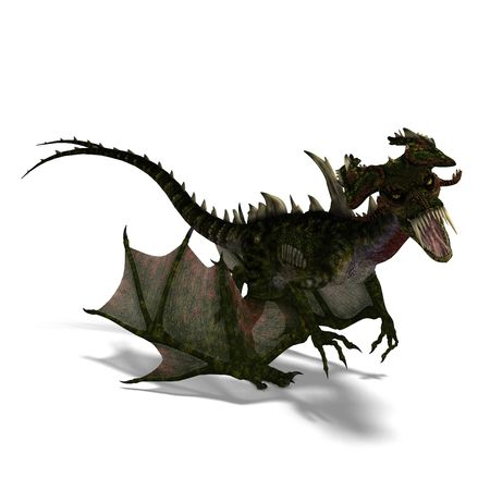 talon: 3D rendering of a giant terrifying dragon with wings and horns attacks with clipping path and shadow over white