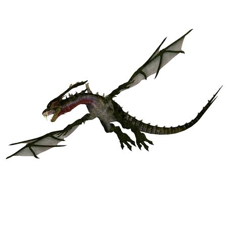 terrifying: 3D rendering of a giant terrifying dragon with wings and horns attacks with clipping path and shadow over white