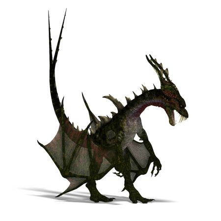 tucker: 3D rendering of a giant terrifying dragon with wings and horns attacking with clipping path and shadow over white Stock Photo