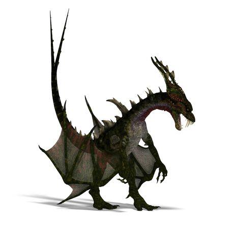 harridan: Representaci�n 3D de un drag�n terrible gigante con alas y cuernos de atacar con trazado de recorte y la sombra sobre el blanco