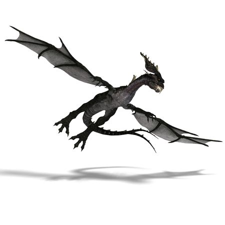 terrifying: 3D rendering of a giant terrifying dragon with wings and horns attacking with clipping path and shadow over white Stock Photo