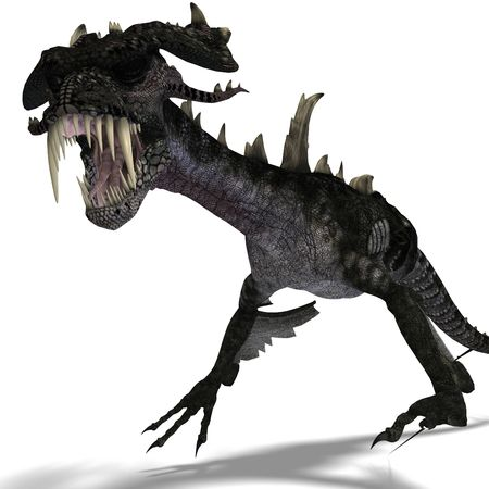 talon: 3D rendering of a giant terrifying dragon with wings and horns attacking with clipping path and shadow over white Stock Photo