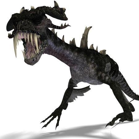 harridan: Representaci�n 3D de un drag�n gigante terror�fico con alas y cuernos atacando con trazado de recorte y sombra sobre blanco