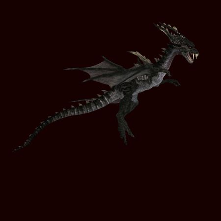 swoop: 3D rendering of a giant terrifying dragon with wings and horns attacking with clipping path and shadow over white Stock Photo
