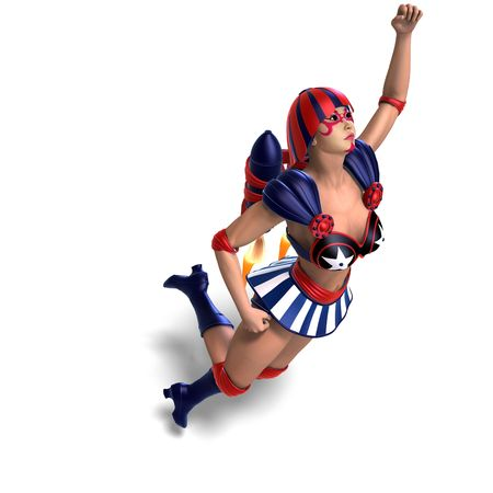 vigorousness: 3D rendering of an female comic hero in an red, blue, white outfit with clipping path and shadow over white