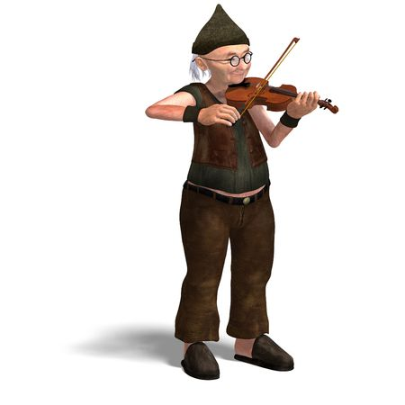 upright: 3D rendering of a funny senior playing the violin with clipping path and shadow over white Stock Photo