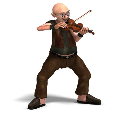 3D rendering of a funny senior playing the violin with clipping path and shadow over white photo