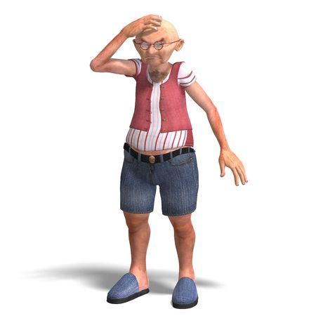 elder: 3D rendering of a cute elder man in short trousers with clipping path and shadow over white