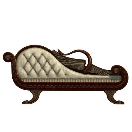 cushy: 3D rendering of a very comfortable sofa from biedermeier time with clipping path and shadow over white