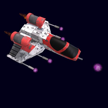 joust: 3D rendering of a sci fi spaceship in universe with clipping path and shadow over white