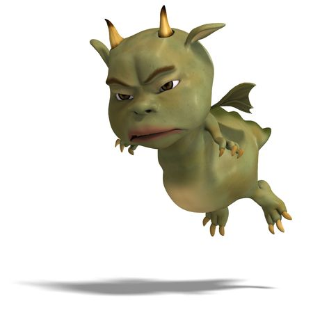 3D rendering of a little green cute toon dragon devil with clipping path and shadow over white photo