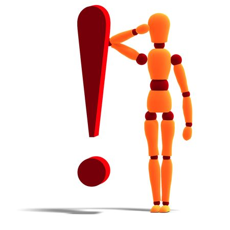 punctuate: 3D rendering of an orange red manikin standing behind an exclamation mark with clipping path and shadow over white