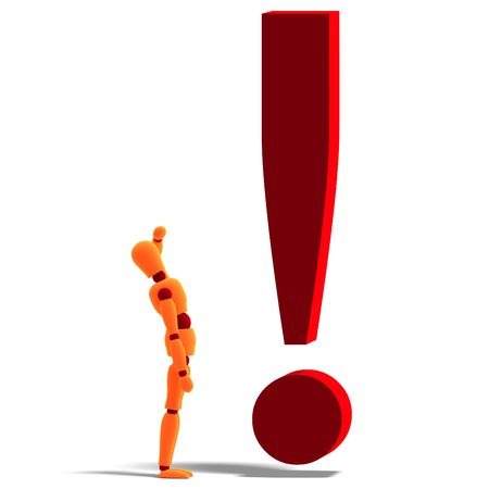 3D rendering of an orange red manikin standing by an exclamation mark with clipping path and shadow over white photo
