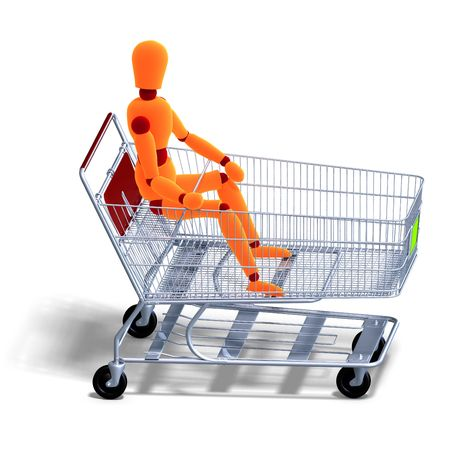 3D rendering of an orange red manikin sitting in a ahopping cart with clipping path and shadow over white