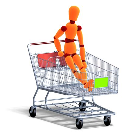 3D rendering of an orange red manikin sitting in a ahopping cart with clipping path and shadow over white photo