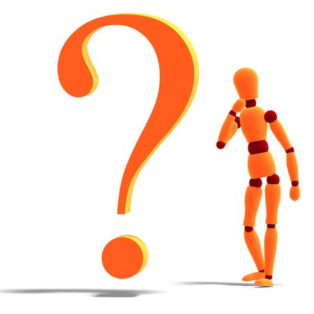 roboter: 3D rendering of an orange red manikin standing by a question mark with clipping path and shadow over white